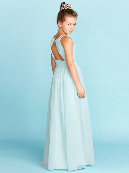 Princess / A-Line Jewel Neck Floor Length Chiffon Junior Bridesmaid Dress With Ruched / Side-Draped / Wedding Party / Open Back_2