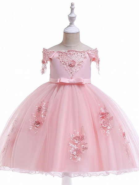 Princess Above Knee Wedding / Party / Pageant Flower Girl Dresses - Satin / Tulle Short Sleeve Off Shoulder With Lace / Beading / Appliques_4