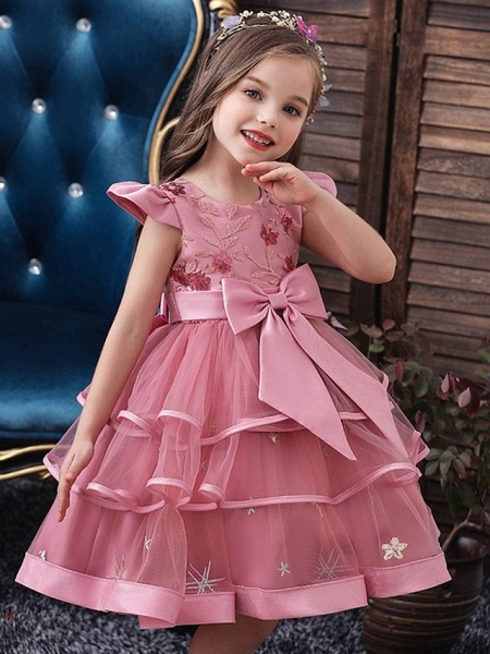 Princess / Ball Gown Knee Length Wedding / Party Flower Girl Dresses - Tulle Short Sleeve Jewel Neck With Bow(S) / Embroidery / Cascading Ruffles_3