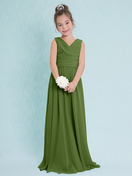 Sheath / Column V Neck Floor Length Chiffon Junior Bridesmaid Dress With Criss Cross / Ruched / Natural_39