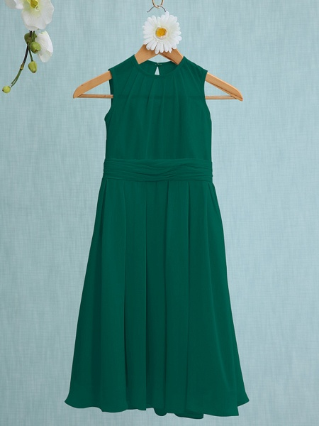 Sheath / Column Jewel Neck Knee Length Chiffon Junior Bridesmaid Dress With Ruched / Natural_24