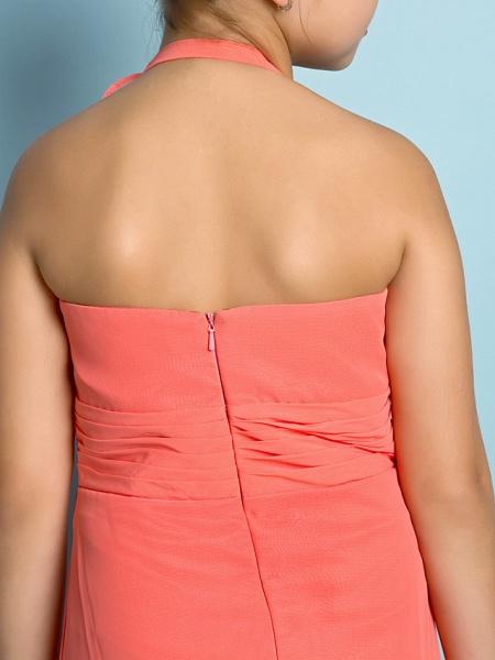 Sheath / Column Halter Neck Ankle Length Chiffon Junior Bridesmaid Dress With Side Draping / Natural / Mini Me_10