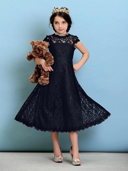 Princess / A-Line Jewel Neck Tea Length Lace Junior Bridesmaid Dress With Pleats / Natural_37
