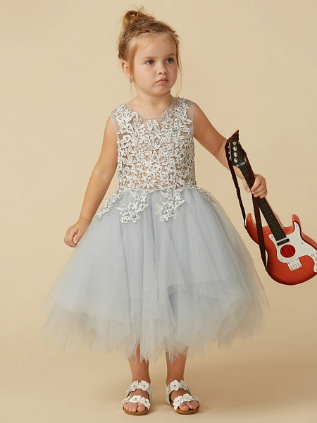 Princess Tea Length Pageant Flower Girl Dresses - Tulle Sleeveless Jewel Neck With Lace / Appliques_5