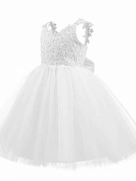 Princess Short Length Wedding / First Communion / Birthday Flower Girl Dresses - Taffeta / Tulle Sleeveless V Neck With Bow(S) / Appliques_2