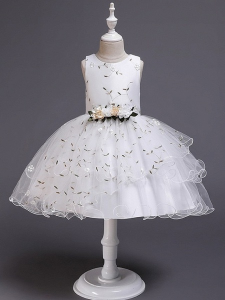 Princess / Ball Gown Knee Length Wedding / Party Flower Girl Dresses - Satin / Tulle Sleeveless Jewel Neck With Bow(S) / Flower_7