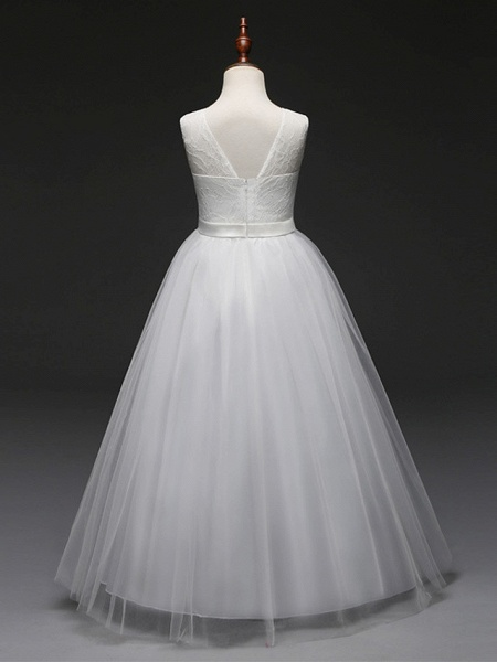 Ball Gown Floor Length Wedding / Party Flower Girl Dresses - Tulle Sleeveless Jewel Neck With Bow(S) / Solid_3