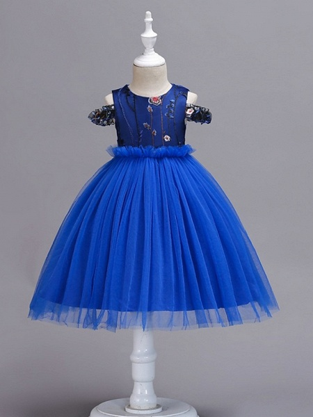 Princess / Ball Gown Knee Length Wedding / Party Flower Girl Dresses - Tulle Short Sleeve Jewel Neck With Bow(S) / Appliques_5