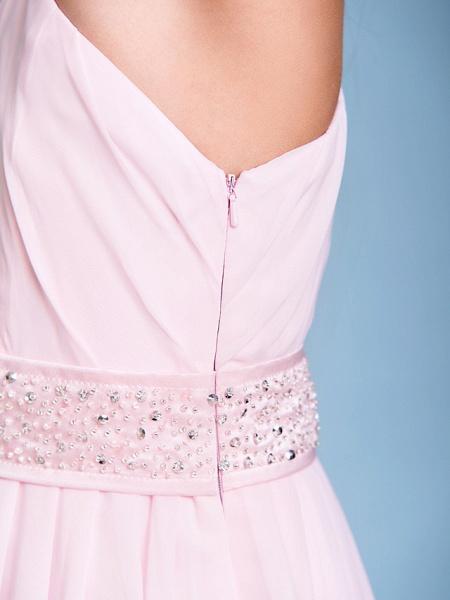 A-Line One Shoulder Floor Length Chiffon Junior Bridesmaid Dress With Sash / Ribbon / Beading / Side Draping / Natural_9