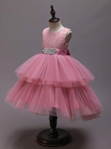 Princess Asymmetrical Wedding / Party / Pageant Flower Girl Dresses - Satin / Tulle Sleeveless Jewel Neck With Belt / Crystals / Rhinestones_7
