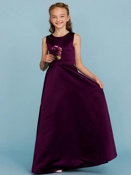 A-Line Jewel Neck Floor Length Satin Junior Bridesmaid Dress With Sash / Ribbon / Wedding Party / Open Back_4