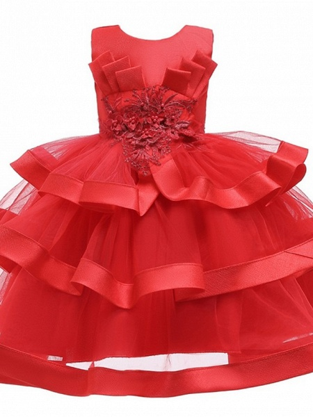 Princess / Ball Gown Knee Length Wedding / Party Flower Girl Dresses - Tulle Sleeveless Jewel Neck With Bow(S) / Appliques / Cascading Ruffles_6