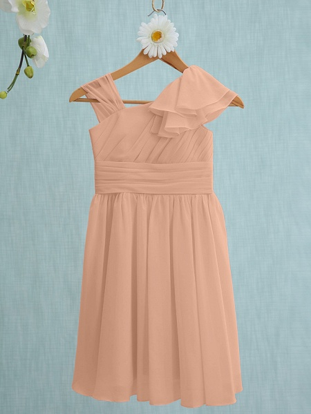 Sheath / Column Straps Knee Length Chiffon Junior Bridesmaid Dress With Ruffles / Side Draping / Natural_11