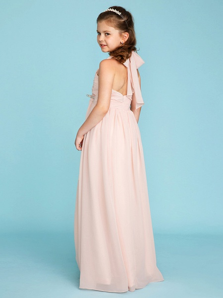 Princess / A-Line Halter Neck Floor Length Chiffon Junior Bridesmaid Dress With Pleats / Ruched_2
