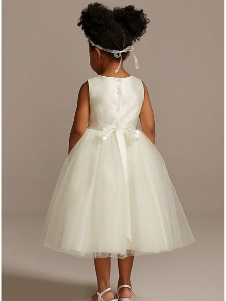 A-Line Ankle Length Wedding Flower Girl Dresses - Tulle Sleeveless Jewel Neck With Beading / Solid_2