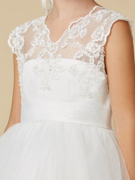 Princess Court Train Wedding / First Communion Flower Girl Dresses - Lace / Tulle Sleeveless V Neck With Sash / Ribbon / Appliques_5