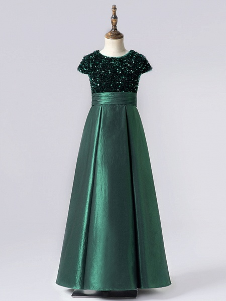 Sheath / Column Floor Length Event / Party / Birthday Flower Girl Dresses - Satin / Sequined Cap Sleeve Jewel Neck With Pleats_5