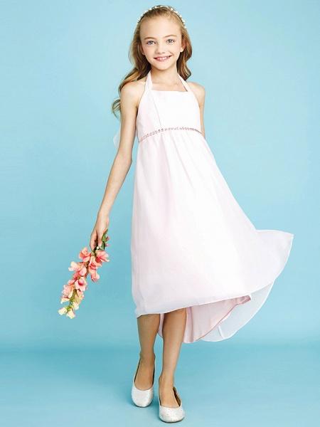 Sheath / Column Halter Neck Asymmetrical Chiffon Junior Bridesmaid Dress With Bow(S) / Beading / Natural_6
