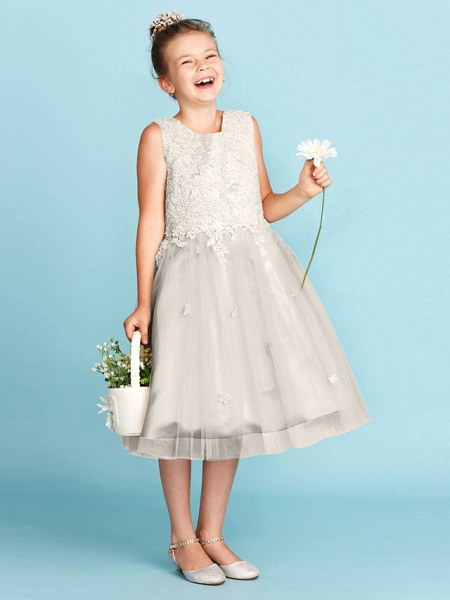 Princess / A-Line Jewel Neck Knee Length Lace / Tulle Junior Bridesmaid Dress With Bow(S) / Appliques / Wedding Party_12