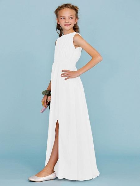 Sheath / Column Crew Neck Floor Length Chiffon Junior Bridesmaid Dress With Sash / Ribbon / Draping / Split Front / Wedding Party / Furcal_49