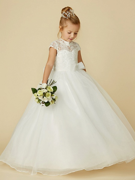Ball Gown Floor Length Wedding / First Communion Flower Girl Dresses - Lace / Tulle Short Sleeve High Neck With Lace / Sash / Ribbon / Bow(S)_6