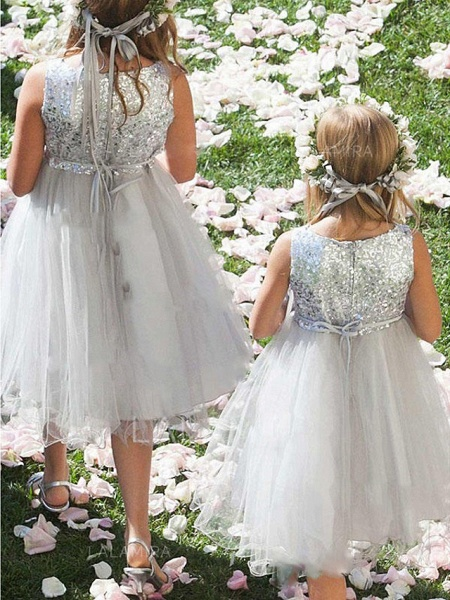 A-Line Knee Length Wedding / Party Flower Girl Dresses - Tulle / Sequined Sleeveless Jewel Neck With Appliques / Paillette_2