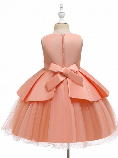 A-Line Knee Length Wedding / Party Communion Dresses - Tulle / Matte Satin / Poly&Cotton Blend Sleeveless Jewel Neck With Lace / Bow(S) / Beading_8