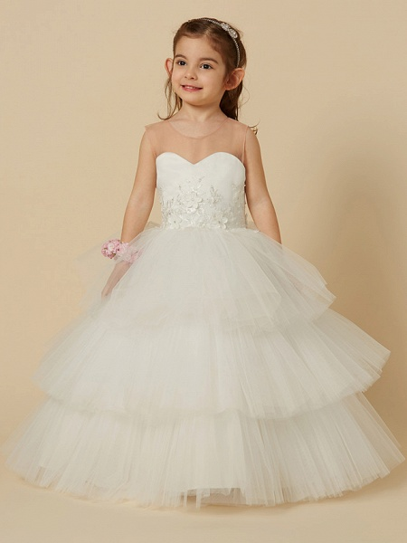 Ball Gown Floor Length Wedding / First Communion Flower Girl Dresses - Satin / Tulle Sleeveless Illusion Neck With Buttons / Flower_1