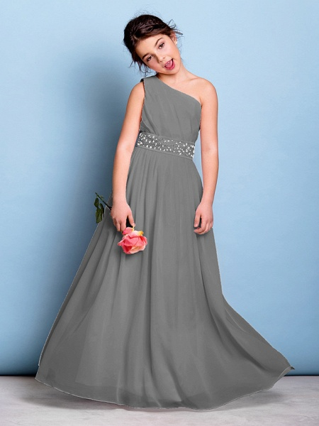 A-Line One Shoulder Floor Length Chiffon Junior Bridesmaid Dress With Sash / Ribbon / Beading / Side Draping / Natural_25