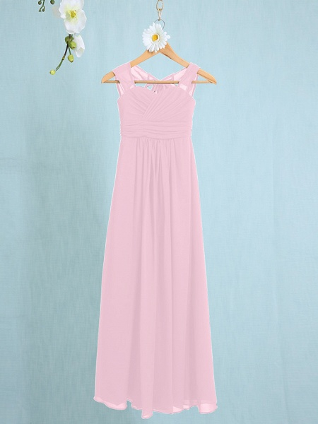 Sheath / Column Straps Ankle Length Chiffon Junior Bridesmaid Dress With Ruched / Natural_7