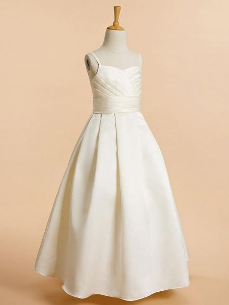 A-Line Floor Length Wedding / First Communion Flower Girl Dresses - Satin Sleeveless Spaghetti Strap With Sash / Ribbon_2