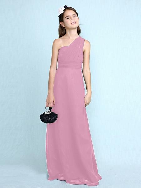 Sheath / Column One Shoulder Floor Length Chiffon Junior Bridesmaid Dress With Side Draping / Natural_14