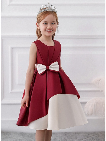 Princess / A-Line Knee Length Wedding / Party Flower Girl Dresses - Mikado Sleeveless Jewel Neck With Bow(S) / Tiered_6