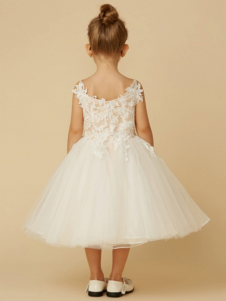 Princess Knee Length Wedding / First Communion Flower Girl Dresses - Lace / Tulle Sleeveless Spaghetti Strap With Crystal / Lace / Sashes / Ribbons_5