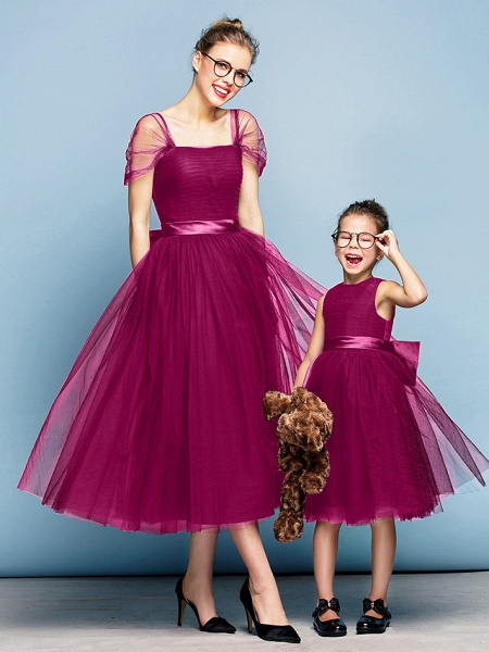 Princess Tea Length Party / Prom / Formal Evening Flower Girl Dresses - Tulle Short Sleeve Square Neck With Bow(S) / Ruched / Elegant_40