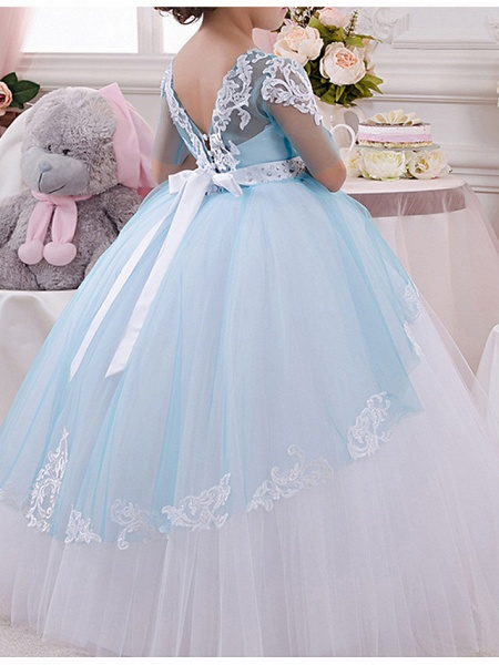 Ball Gown Floor Length Pageant Flower Girl Dresses - Polyester Half Sleeve Jewel Neck With Bow(S) / Appliques_3