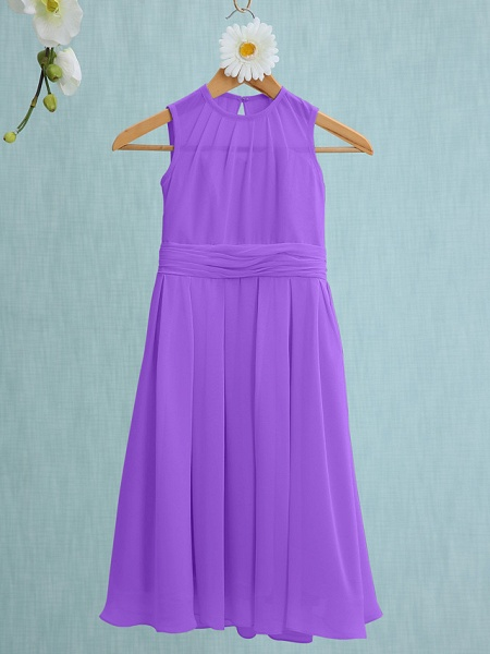Sheath / Column Jewel Neck Knee Length Chiffon Junior Bridesmaid Dress With Ruched / Natural_28