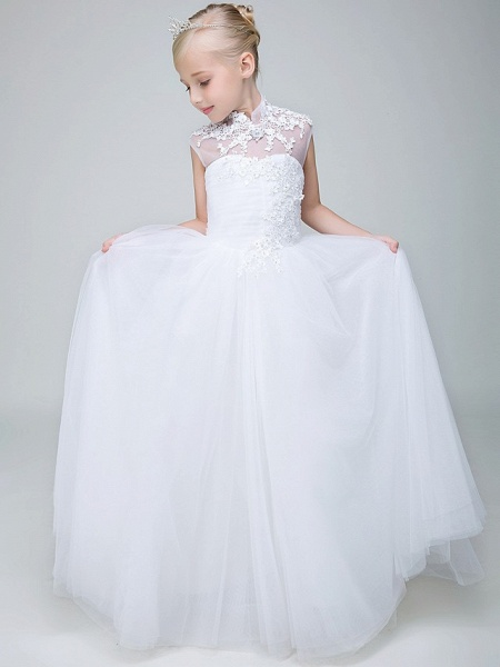 Ball Gown Ankle Length Wedding / First Communion Flower Girl Dresses - Tulle Sleeveless High Neck With Beading / Appliques_1