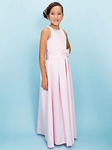 A-Line Jewel Neck Floor Length Satin Junior Bridesmaid Dress With Sash / Ribbon / Draping / Flower / Spring / Fall / Winter / Apple / Hourglass_2