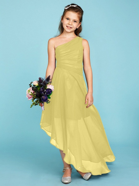A-Line One Shoulder Asymmetrical Chiffon Junior Bridesmaid Dress With Side Draping / Wedding Party_38