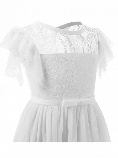 Sheath / Column Long Length Party / Birthday / First Communion Flower Girl Dresses - Chiffon / Lace Short Sleeve Jewel Neck With Lace / Butterfly_3
