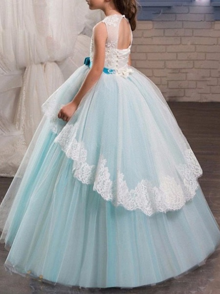 A-Line Floor Length Pageant Flower Girl Dresses - Tulle Sleeveless Jewel Neck With Lace / Bow(S)_2