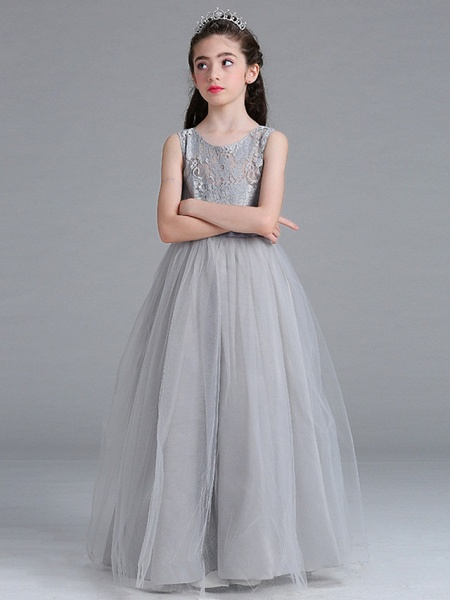 A-Line Round Floor Length Cotton Junior Bridesmaid Dress With Lace / Bow(S)_5