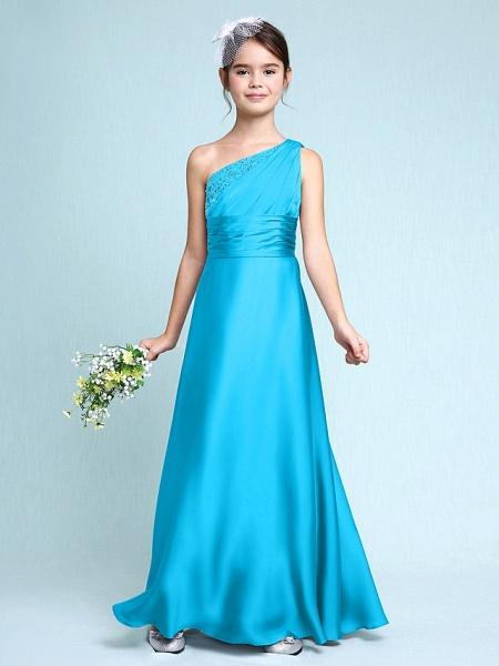 Sheath / Column One Shoulder Floor Length Chiffon Satin Junior Bridesmaid Dress With Ruched / Side Draping / Natural_33