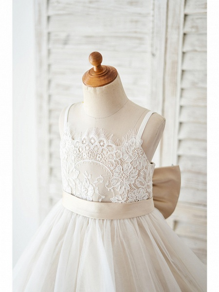 Ball Gown Knee Length Wedding / Birthday Flower Girl Dresses - Lace / Tulle Sleeveless Spaghetti Strap With Bow(S)_3