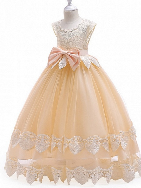 Princess / Ball Gown Ankle Length Wedding / Party Flower Girl Dresses - Tulle Cap Sleeve Jewel Neck With Bow(S) / Tier / Appliques_4