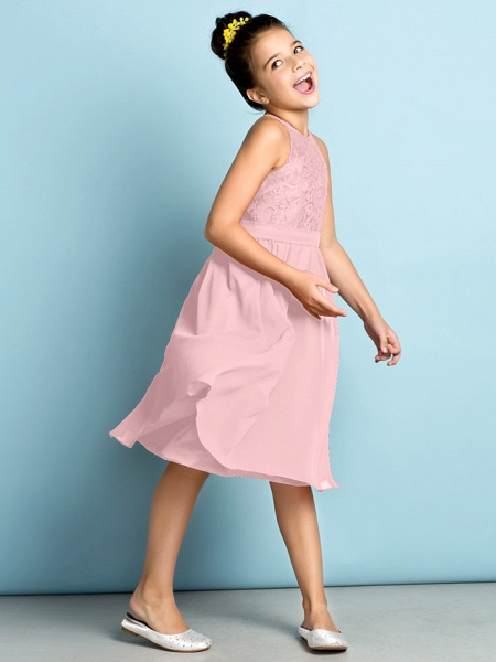 A-Line Jewel Neck Knee Length Chiffon / Lace Junior Bridesmaid Dress With Lace / Natural / Mini Me_20