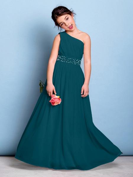 A-Line One Shoulder Floor Length Chiffon Junior Bridesmaid Dress With Sash / Ribbon / Beading / Side Draping / Natural_35