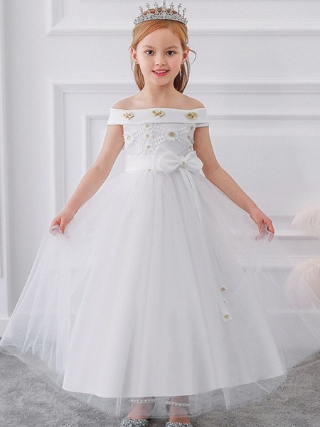 Princess / Ball Gown Floor Length Wedding / Party Flower Girl Dresses - Tulle Short Sleeve Off Shoulder With Sash / Ribbon / Bow(S) / Appliques_1