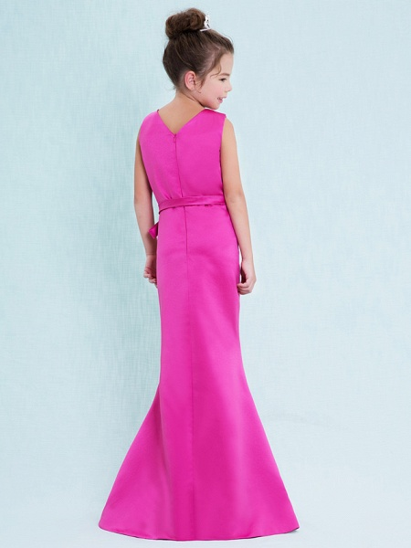 Mermaid / Trumpet V Neck Floor Length Satin Junior Bridesmaid Dress With Criss Cross / Natural_6